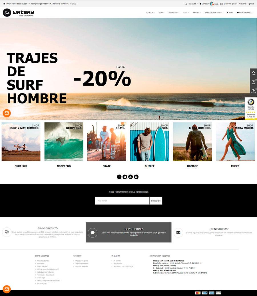 venta de trajes de surf, tablas de surf y accesorios